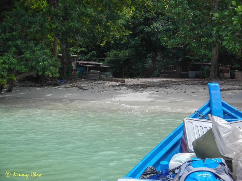 Arriving at Teluk Segadas beach.