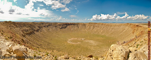This shot was taken at the top most observation point on the rim of the Meteor Crater. To give you a sense of scale for this crater, you could fit the washington monument in this crater and the tip of the obelisk would not crest the rim of the crater.