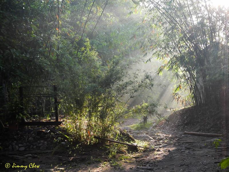 Morning rays at Pahlawan Eco Resort (or Hulu Hamzah Campsite).