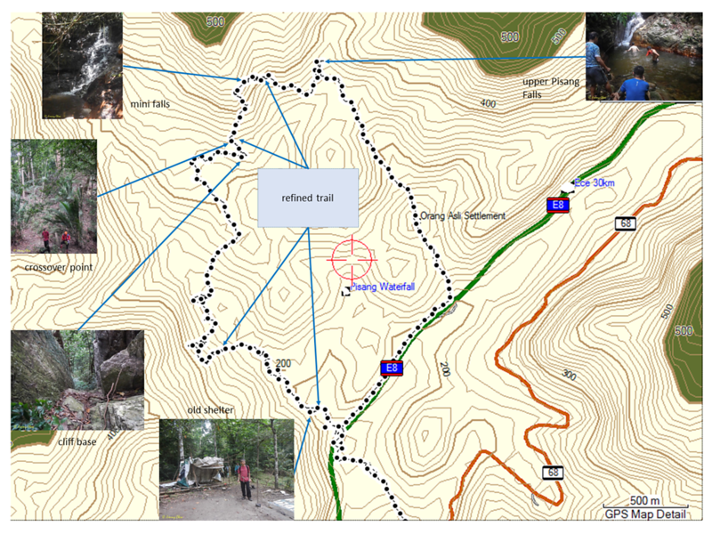 Map showing the refined trail since first visit. Slightly shorter than the original distance and also easier to trek.