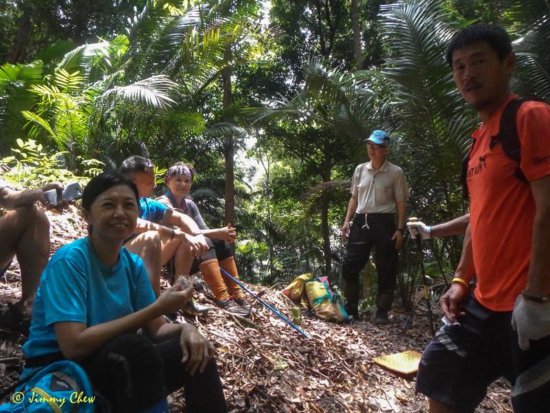 Taking a break at midway of Batu Gila ridge.