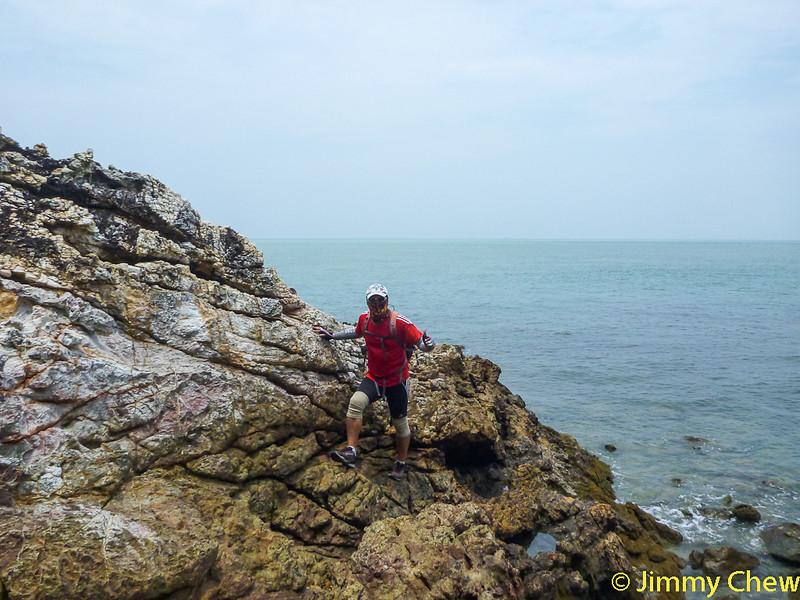 Raymond descending from the edge.
