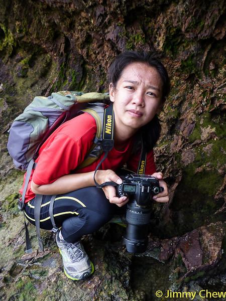 Yee Yee photographing the sea corals.