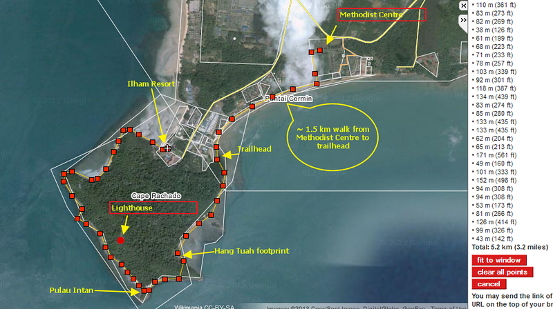 The planned trail on circumnavigation -- from Port Dickson Methodist Centre till Ilham Resort.