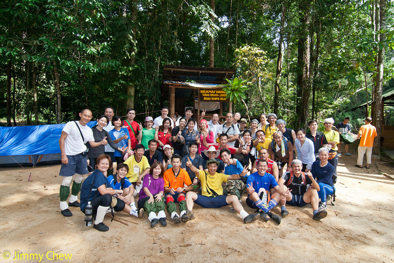 Group photo taken at Lubuk Merekek campsite just before departing off to Takah Tinggi.