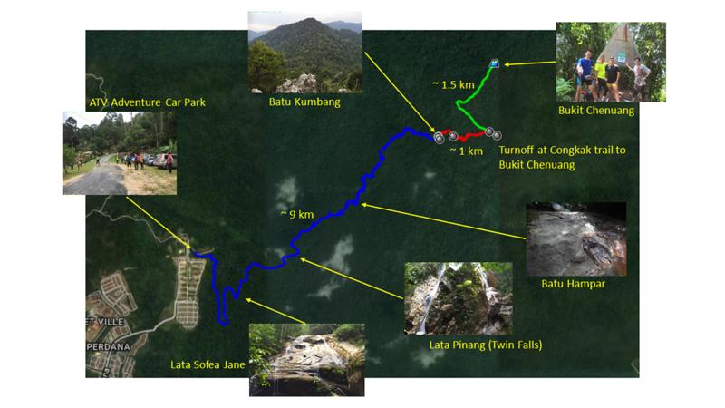 Overview of the new Kemensah-Batu Kumbang trail.