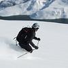 20 janvier, enfin de vraies conditions, on range les skis cailloux, on peut lâcher les chevaux.<br /> Arno sur fond de Lac de Roselend.