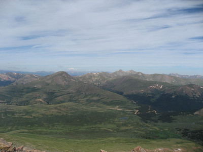 From the summit, looking out at Grays and Torreys and the valley we came in from.
