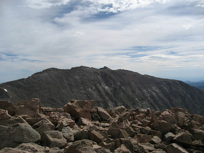 At the summit (14,060ft) looking across at Mount Evans. That little round lump in the distance is the Evans Observatory.