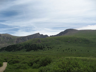 A shot up at Bierstadt (to the right) and the Sawtooth.