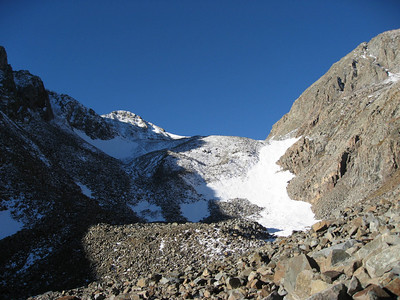 The final chunk of the hike, which involves a real ascent (as opposed to walking up a long dirt road). This was taken from Montezuma Basin at 12,800. Castle Peak is the left and Conundrum is to the right. You can see trackmarks in the snow, which marked the route we decided to follow.