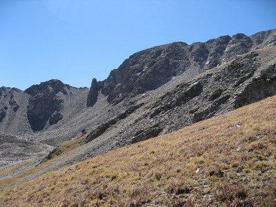 A look at Missouri Mountain's summit as we begin our ascent to the north.