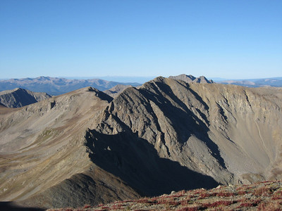 The ridge up toward Missouri shown from the ridge just before the Belford-Oxford saddle. The saddle pictured here is part of Elkhead Pass.