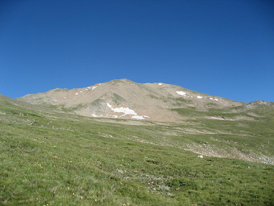 Mount Massive. The actual summit is the little point to the left, with the small snowpatch in front of it.