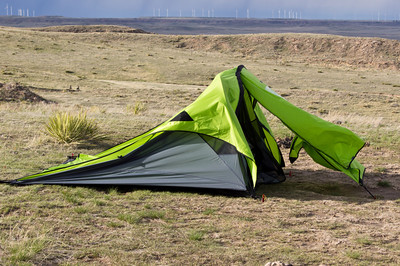 This is what happens to a Nemo Asashi tent when it is pummeled by wind.