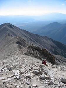Dad making his way up the ridge to Princeton's summit.