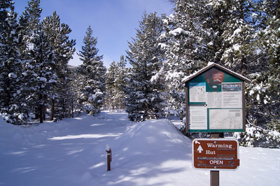Time to hike into the trailhead. At least the Warming Hut is open!