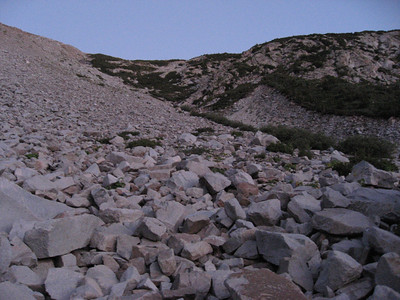 The boulder field as the sun begins to rise.