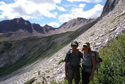 Lynn and I in front of the evil scree slope.