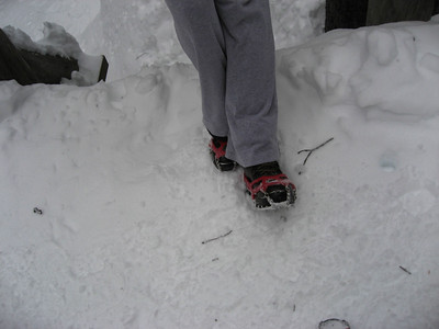 Microspikes rock. (Modeled here by the Chipper). I recommend them to anyone who might encounter packed snow or ice on a hike.