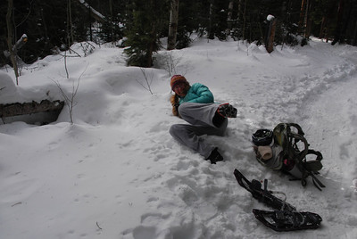 Lynn decided to lose her snowshoes. And promptly fell over once they were off.