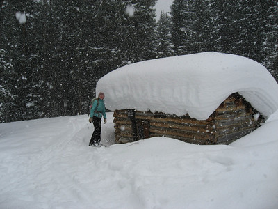 One of several little ski huts in the area.
