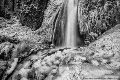 A frozen Wahkeena Falls, Columbia River Gorge, OR