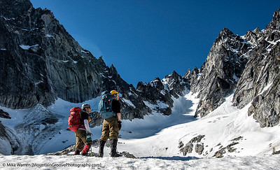 Climbers, Dragontail and Colchuck Peaks, Alpine Lakes Wilderness, WA