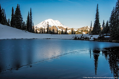 Ice forming on Tipsoo Lake, and Mt. Rainier, MRNP