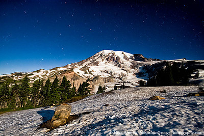 Mt Rainer lit exclusively by ambient moonlight, taken from Alta Vista, above Paradise, Mt Rainier National Park, WA