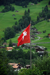 Swiss Flag, Grindelwald, Switzerland