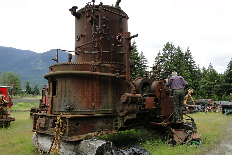 """Old Steam Donkey Engine at the Stevenson Museum Don looking for the <B><FONT COLOR=""""green"""">On</FONT></B> switch."""