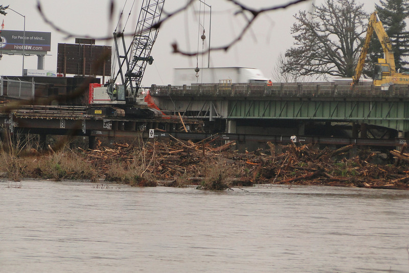 The giant Sandy River log jam in Troutdale after the Sandy River flood of the previous week.