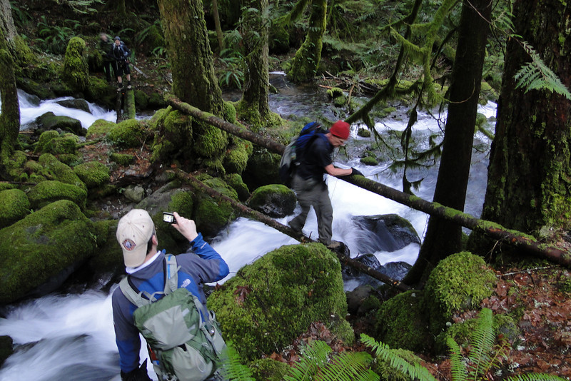 RJT<br /> Don on the first (of many) Horsetail Creek Crossings.