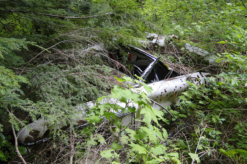 The old car marks the juntion for the road back South on the West side of Phlox Point to complete our loop.