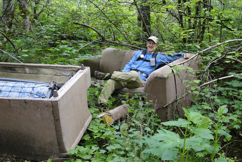 Brad enjoying the trail head facilities at the Keuffler Road East TH.