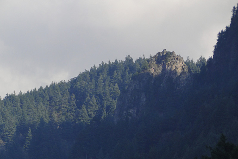 Looking back up at Cougar Rock from the Multnomah Falls Parking Lot.