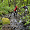 Don & Ardith crossing the West fork of Woodward Creek.