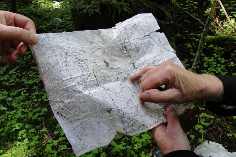 Consulting a frayed & tattered original Russ Jolly Map!