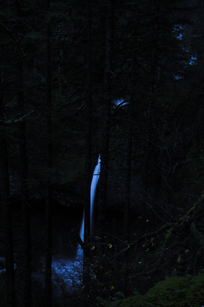 Looking back at Ponytail Falls from the Russ Jolly in the dark.