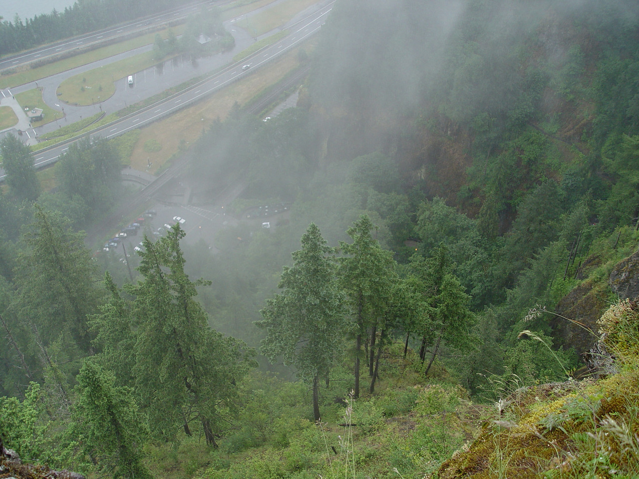 Looking down on the Multnomah Falls parking area.