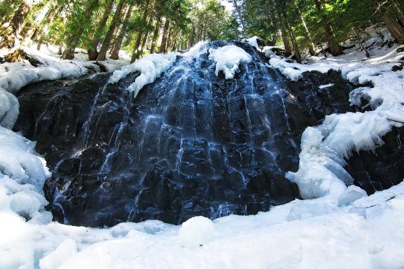Ramona Falls in snow.