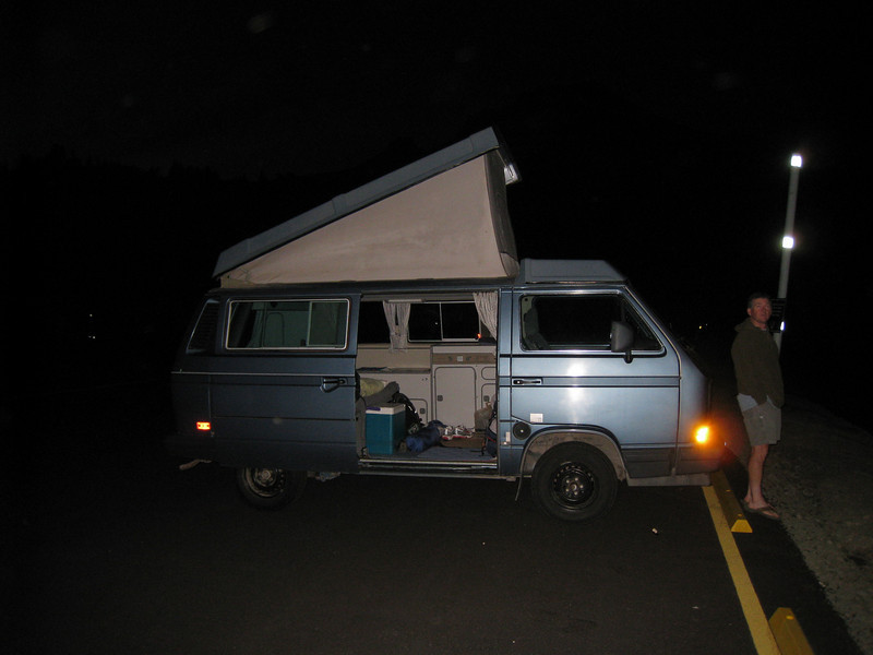 Camping out the night before at the Timberline Parkiing lot in Eric's van.