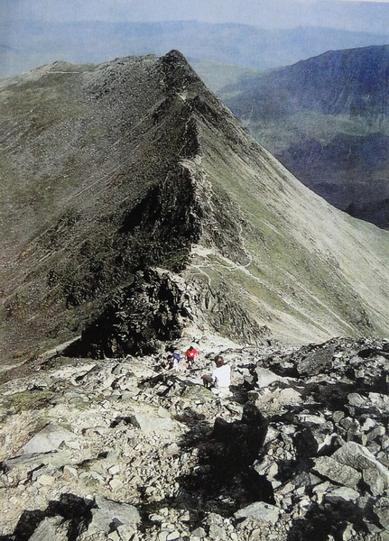 This post card shows what Striding Edge up to Helvellyn looks like on a Sunny Day! We didn't see this :^)..