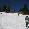 Snow banks on the Garfield Peak Trail. <FONT SIZE=1>© Chiyoko Meacham</FONT>