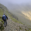 Setting out on the climbers traverse on Bow Fell.