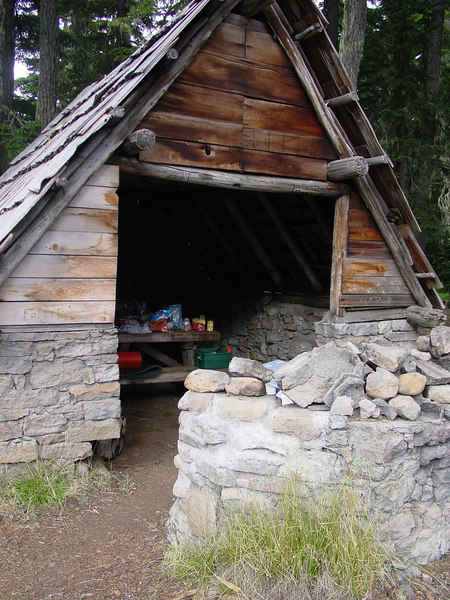 Breitenbush Camp is actually on the Warm Springs Indian Reservation & maintained by the Warms Springs Tribe. This is one of two surviving shelters at the lake.
