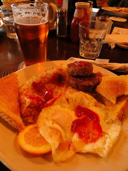 Breakfast at the Pelican Pub. <I>(It was 11:30!)</I>