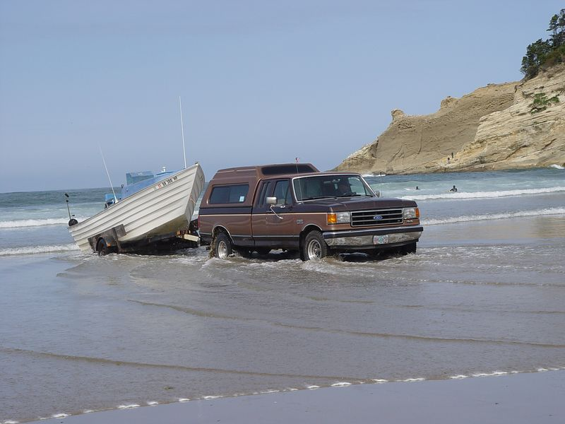 Launching a Dory Boat.