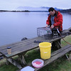 Pascal setting up the crab trap at the entrance to Nehalem Bay